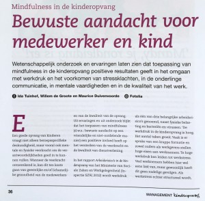 Artikel Mindfulness door Working Well in Vakblad Management Kinderopvang